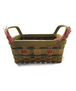 Hand Painted Wicker Basket Red Green Heart Chri... - $15.00
