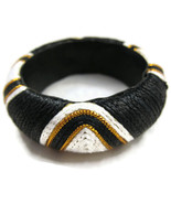 Bracelet Bangle Black White Fabric Big Chunky N... - $20.00