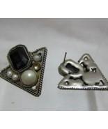 Retro Vintage Silver Black Triangular Pierced E... - $15.00