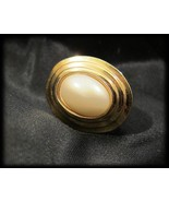 Scarf Slide Gold Tone Faux Pearl Oval Classy Sm... - $20.00