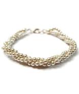 Bracelet White Faux Pearl Silver Tone Twisted N... - $20.00