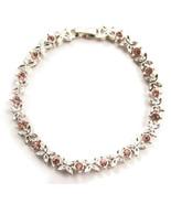 Bracelet Pink Rhinestones Butterfly Silver Tone... - $20.00