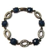 Bracelet Chain Brass Dark Aquamarine Rhinestone... - $20.00