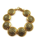 Bracelet Black Enamel Gold Round Links Floral D... - $20.00
