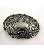 Large Oval Floral Silver Tone Belt Buckle Women... - $20.00