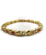 Bracelet Gold Tone Pink Rhinestones Hearts Clas... - $20.00