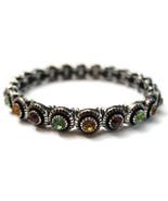 Bracelet Silver Tone Green Amber Rhinestones St... - $20.00