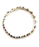 Bracelet Silver Tone Hearts Colorful Rhinestone... - $20.00