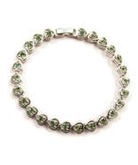 Bracelet Link Green Rhinestone Hearts Silver To... - $20.00