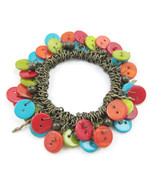 Charm Bracelet Colorful Shell Buttons Red Green... - $20.00