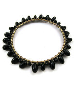 Bracelet Bangle Black Beads Gold Tone NEW Delic... - $20.00
