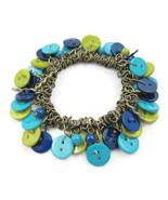 Bracelet Green Bright Dark Blue Buttons Stretch... - $20.00