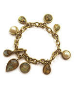 Charm Bracelet Faux Abalone Pearls Gold Tone NE... - $20.00