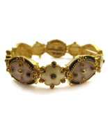 Bracelet Blue White Enamel Floral Gold Tone NEW... - $20.00