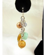 Earrings Pierced Green Gold Silver Long Dangle ... - $20.00
