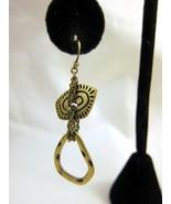 Earrings Pierced Brass Tone Dangle Long Unique ... - $20.00