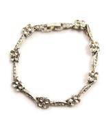 Bracelet Link Silver Tone Floral White Rhinesto... - $20.00