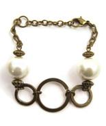 Bracelet Chain Brass Gold Tone LARGE Faux Pearl... - $20.00