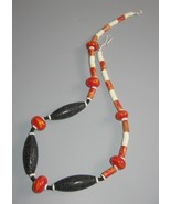 Handcrafted Lava Lampwork bead Necklace black P... - $30.00