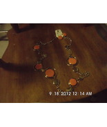 Orange Circle and Goldtone Fashion necklace and... - $6.99