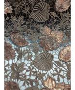 Bronze Floral Leaf Sequins Lace 2-Way Stretch 5... - $29.95