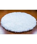 5' Diameter White Round Area Rug / Plush Faux F... - $99.00