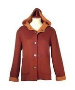 Hooded Jacket,pure Alpaca wool, elegant Outerwear - $288.00