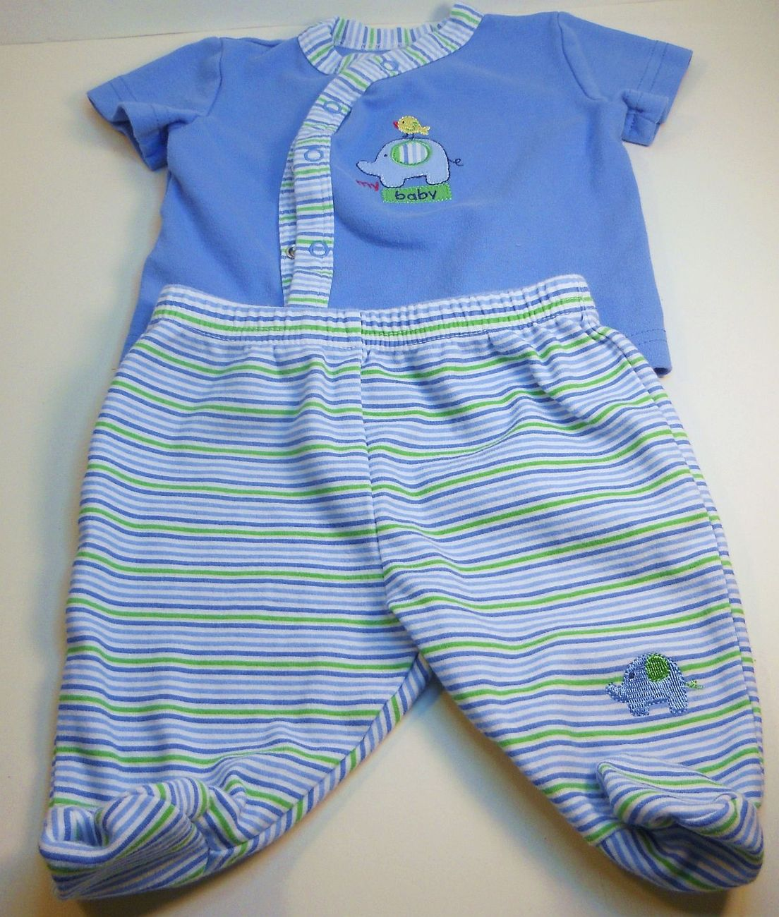 Okie Dokie Boys shirt footie pants set blue stripe elephant New born
