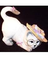 Ceramic Kitty Cat Glasses & Hat Figurine, signe... - $8.99