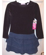 NWT Just Friends Girl's LS Black Velour and Den... - $19.99