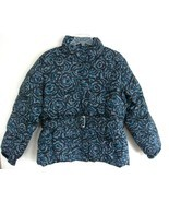 New Ladies Quilted Parka XL Print Gray Blue Bel... - $39.99