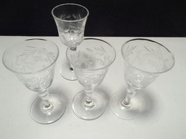 4 TINY CORDIALS WITH CUTTINGS / ETCHING~~unknow... - $6.95
