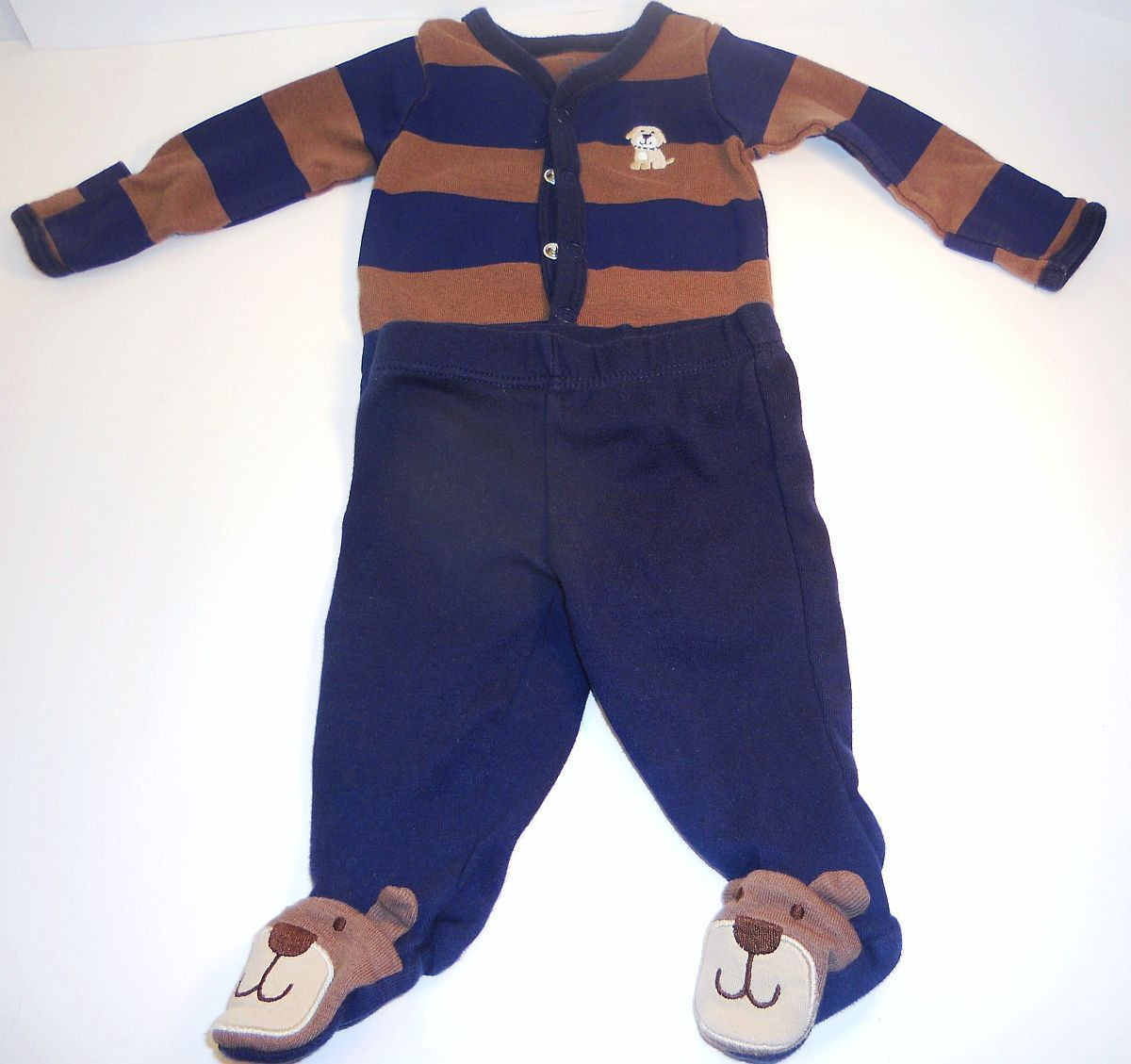 Carter's boys blue brown shirt puppy footie pants outfit New Born
