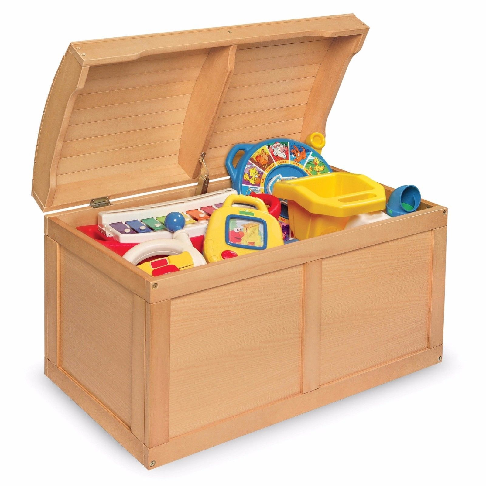 Wood Toy Treasure Chest Organizer Storage for Kids Bedroom Playroom