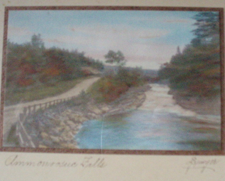 Charles H Sawyer hand paint photo  Ammonoosuc Falls