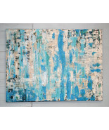 Beach Abstract Painting 35 x 48 Large Blue Whit... - $1,500.00