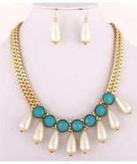 Off white teardrop pearl turquoise beads neckla... - $18.80