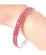 Red Crystal Bangle Bracelet Sparkling Perfect f... - $12.86