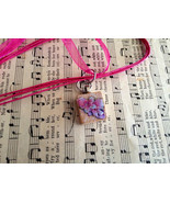Scrabble Tile Necklace Hand Made Pink Glittered... - $15.00
