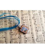 Scrabble Tile Necklace Hand Made 3 Blue Glitter... - $15.00