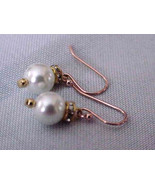 WHITE FW  SINGLE PEARL +SWAROVSKY  GOLD PLATED ... - $14.99