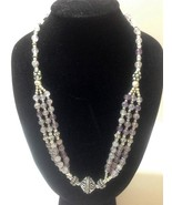AMETHYST SILVER 3-Strand Beaded Necklace 20