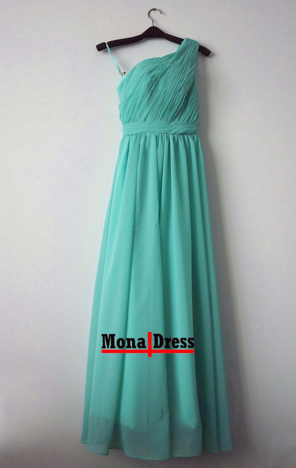 Mint green long one shoulder beach evening prom dress for Green beach wedding dresses