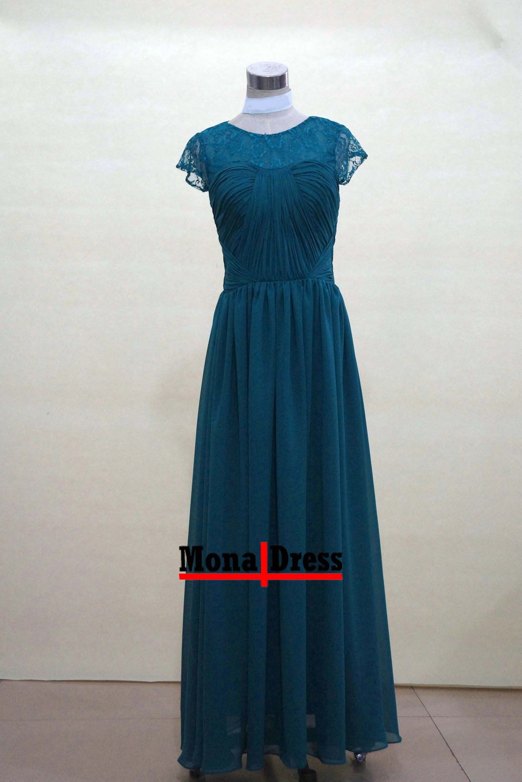 Teal green short sleeve lace long prom evening dress