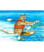 ACEO art print Cat 386 mouse fantasy by Lucie D... - $4.99
