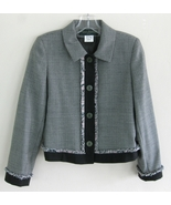 Black White Blazer Checks 4P Fringe Pattern Har... - $29.99