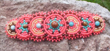 Coral Turquoise Handmade Native Beaded Hair Barrette New Ladies Women Girls