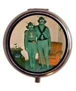 Weird Couple in Green Martian Costumes Pill Box... - $7.50