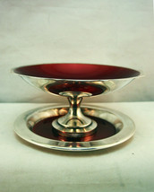 2 Pcs Silverplate Lined Red Enamel Pedestal Bon... - $22.95