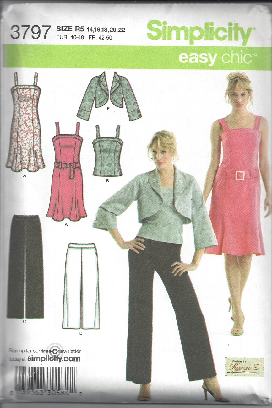 Simplicity 3797 Misses' Dress, Top, & Pants Sewing Pattern, Sz 14-22